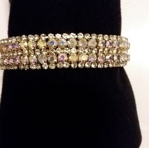 Womens Vintage/Modern Crystal Bracelet set in Gold